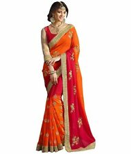 Indian Designer Red Codding Sari, Bollywood Sari, Asian Wedding Party Wear Sari