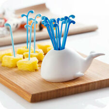 16 PCS Novelty Kitchen Fruit Forks With Small Whale Style Stand Holder Utensils