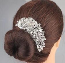 Crystal Bridal Flower Hair Comb Rhinestone Diamond Silver Clip Wedding Accessory