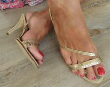 CAPARROS gold chain STRAPPY slingback HEELS 8.5 / 9 stiletto EVENING dress SHOE