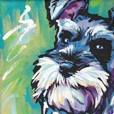 fun Schnauzer dog portrait print of bright colorful pop art Painting 8x8""