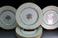 "Minton Ardmore 10.5"" Dinner Plate Ivory Turquoise Scalloped Rim Set of 12 Plates"