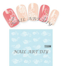 20 Nail Art Stickers-Decals Water Transfer-Tattoo Adesivi Unghie Fiori Bianchi !