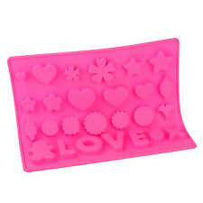 Silicone Chocolate Mould Tray Round Icing Craft Cake Jelly Baking Ice Love Pink