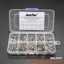 340pcs M3 A2 Stainless Steel Assortment Kit Button Head Hex Socket Screw NO.2101