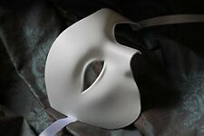 MENS WHITE HALF FACE PHANTOM QUALITY VENETIAN MASQUERADE THEATRICAL CARNIVAL EYE
