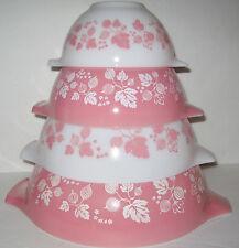 Vintage 1956-1963 Pyrex PINK GOOSEBERRY Cinderella Mixing Nesting Bowl 4 pc Set