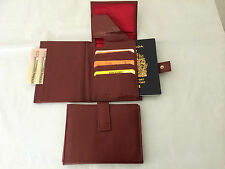 Mens Leather Travel Wallet Passport Holder - Burgundy Red (AE-13)