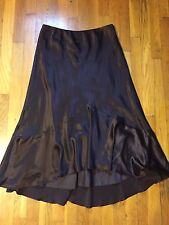Ralph Lauren Silk Brown Skirt Size 10 Long Evening Holiday New Years  P