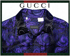 Genuine GUCCI Black & Purple Paisley Italy Silk Men's L 43/17 Tom Ford Era $1100