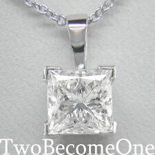 DIAMOND PENDANT NECKLACE D IF 1.00ct GIA CERT PRINCESS CUT PLATINUM CHAIN