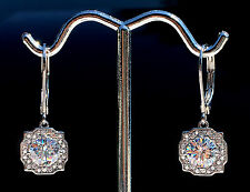 2 ct tw Halo Earrings Vintage Russian CZ Imitation Moissanite Simulant .925