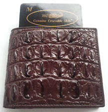Genuine Backbone Real Crocodile Alligator Skin Leather Man Bifold Wallet Brown