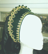 Green Velvet Tudor Renaissance French Hood Headpiece Hat  4 Dress Gown Necklace