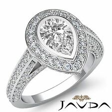 Halo Pre-Set Pear Diamond Engagement Ring GIA F Color VS2 18k White Gold 2.75ct
