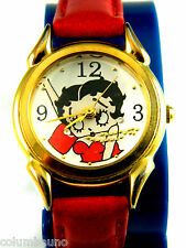BETTY BOOP 1 inch FACE/ NEW RED LEATHER BAND /NEW BATTERY/