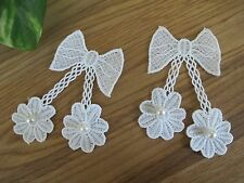 "Lot 2Pcs 4"" White Pearl Lace Ribbon Bow Sewing Trim Appliqué Sew On Patch"