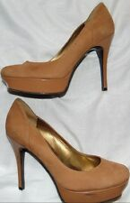 Womens Brown Nubuck Leather GUESS  Career Heels Stilettos Shoes Sz 8.5