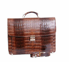 Mens Real Leather Briefcase Crocodile TAN Laptop Satchel Attache Work Office Bag