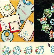 Vintage Hand Embroidery Transfer repo 221 Monogram Alphabets ABCs for fine Linen
