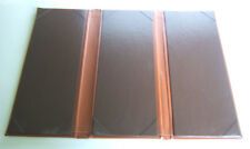 "Brown Padded Leatherette Menu Cover Triple Panel 11 1/4 ""x5"""