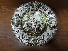 "Capodimonte Wall Plate Pierced Raised Figures Gilt Decoration 12"" ""Bernini"""