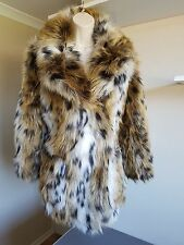 Bnwt Stunning TopShop Faux Fur Animal/Leopard Print Coat/Jacket UK Size 8 - 10