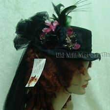 Victorian Steampunk Edwardian style riding hat Black and wine 2790 with bird