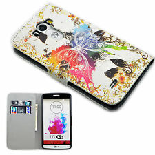 PU Leather Skin Soft Gel Pocket Wallet Style Full Cover Case Stand For LG G3