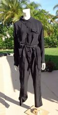 MILLY BLACK SILK BELTED LONG SLEEVE MILITARY STYLE JUMPSUIT ROMPER Sz 12