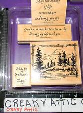 STAMPIN UP BEAUTY OF LIFE 4 RUBBER STAMPS SCENE PINE TREES FRAMED FATHER'S DAY