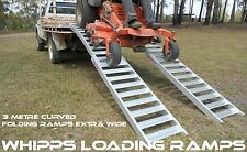 Heavy Duty Mower Ramps 1.5 Tonne Capacity 3 Metres Curved Folding Extra Width