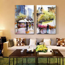 Watercolor Street Wall Art Canvas Art Unframed HD Abstract Canvas Prints Poster