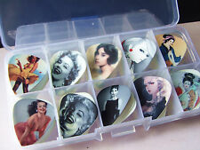 50pcs Gift Collection Sexy Wedding Cartoon Beauty Guitar Picks Plectrum Box Case