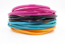 New 20 Piece Set of Black Teal Orange & Blush Colored Jelly Bracelets #B2011