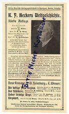 LEIPZIG, Werbung 1911, Union Deutsche Verlag K. F. Beckers Welt-Geschichte