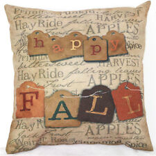 Home Decor Work Cotton Linen Happy Fall Cushion Cover Pillow Sofa 45cm/18""