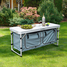 Picnic Table Folding Portable Adjustable Height Aluminum Outdoor Dining Camping