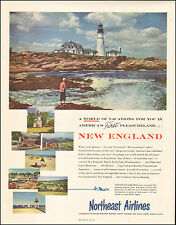 1953 travel AD  VISIT NEW ENGLAND fly NORTHEAST AIRLINES Lighthouse 122915