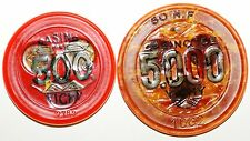 Lot 2 jetons Casino Vichy 500 et 5000 Francs