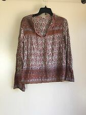 Vtg INDIA Floral Cotton Gauze Hippie Boho Festival Gypsy Peasant Blouse Top - S