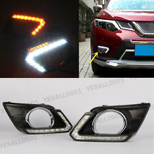 2x DRL LED Daytime Run Light Fog Lamp + Turn Signal for Nissan X-Trail Rogue