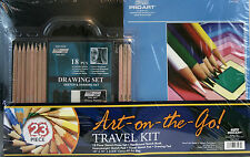 "Pro Art: 23 Piece ""Art-On-The-Go!"" Travel Kit, Art Bag Sketch/Draw Set Book/Pads"