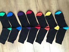 6 PAIRS MEN ADULTS BLACK COTTON SOCKS WITH COLOURED HEELS&TOES UK  6 -11 LKTYGHF