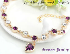 Made with Swarovski Heart Amethyst Crystal 18K Gold Plated Bracelet with New Tag