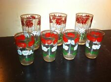Vintage Libby 7PC Red White Green  Flower Drink  set