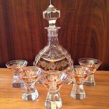 Likörset Bleikristall * Karaffe + 5 Gläser * Jugendstil * Schliff * Blumenmuster