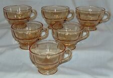 """6 New Martinsville MOONDROPS AMBER* 2 1/2"""" CUPS*"""
