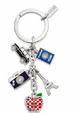 NWT Coach 62733 Pave Signature Travel Mix Passport Apple Keychain Key Fob