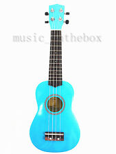 "Beautiful Blue 21"" Wooden Soprano Ukulele(Rosewood Fingerboard & Bridge) & Bag"